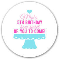 Cupcake Stand Personalised Birthday party bags sweet cone stickers labels