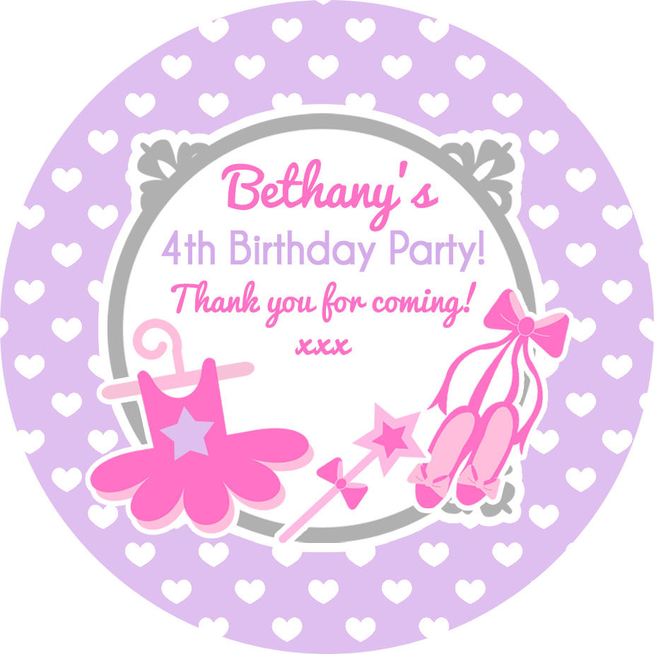 Ballet Ballerina Birthday party bags stickers, personalised, 1x A4 sheet