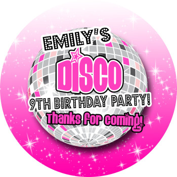 Disco Ball Personalised Birthday party bags sweet cone stickers labels