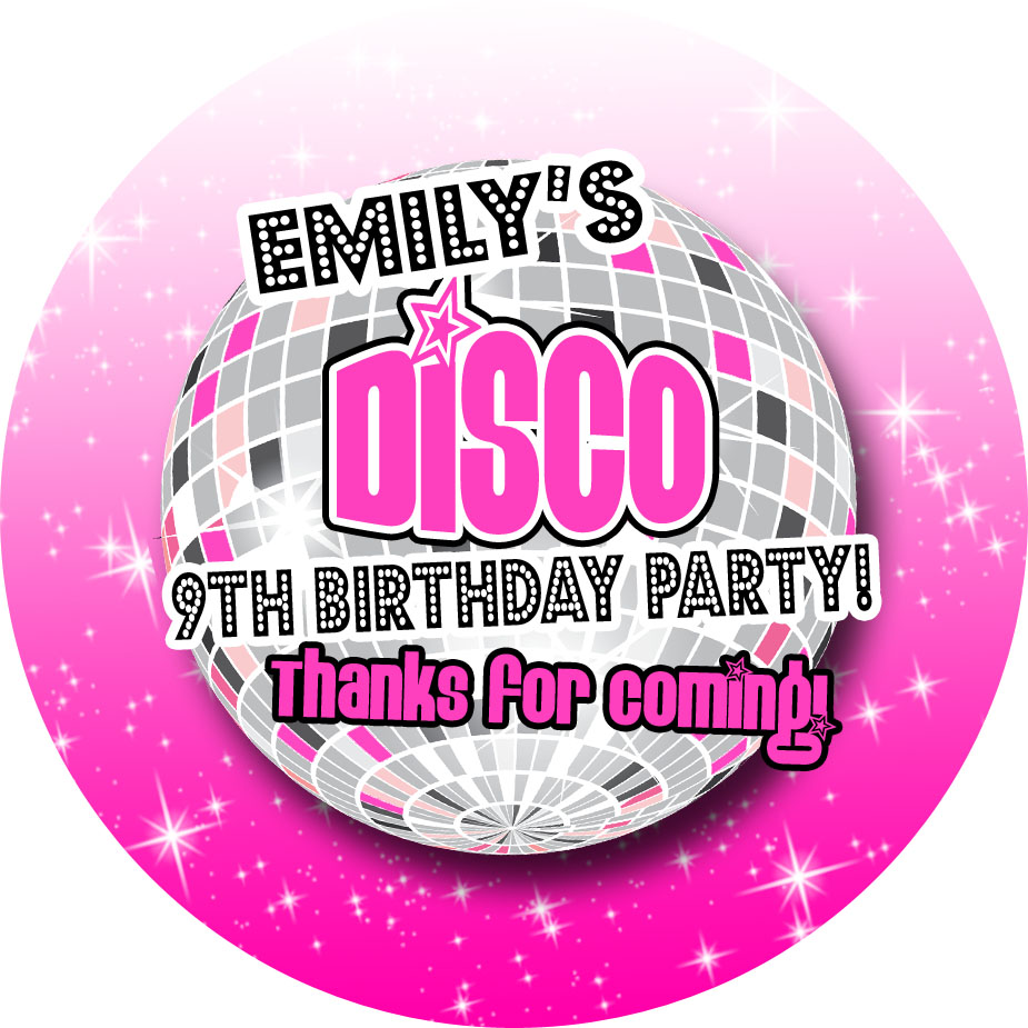 Pink Disco Personalised Birthday Stickers