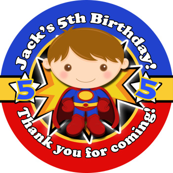 Superman Birthday party personalised bags stickers 1x A4 sheet