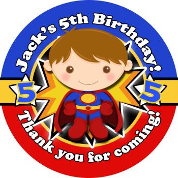 Superman Birthday Party Stickers