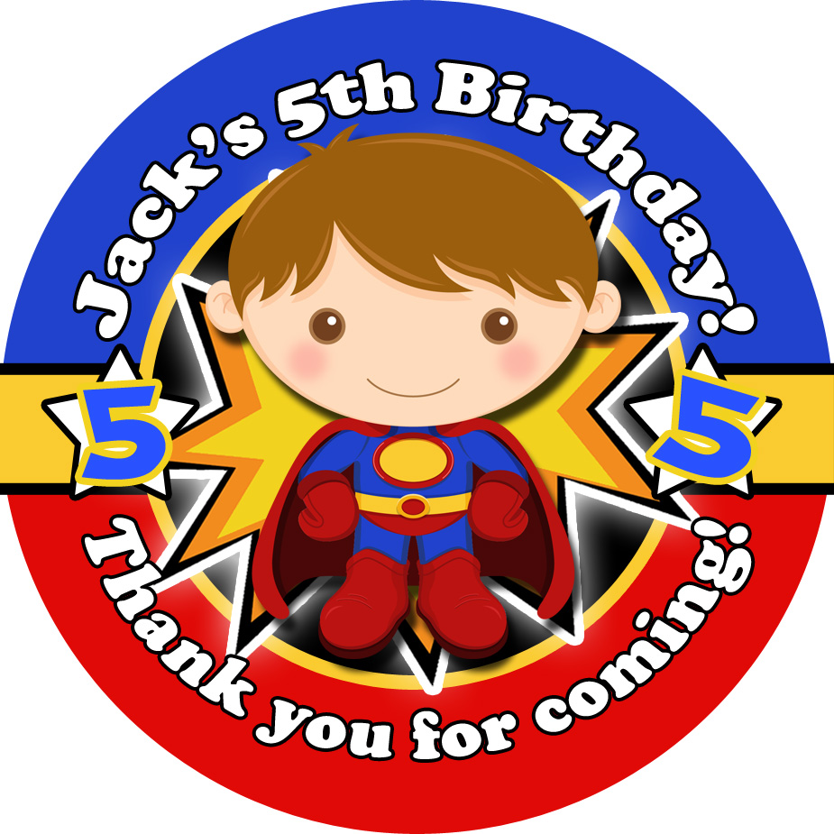 Superman Birthday Party Stickers