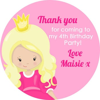 Princess with Tiara Birthday party personalised bags stickers 1x A4 sheet