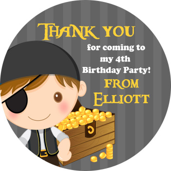 Pirate with Treasure Birthday party personalised bags stickers 1x A4 sheet