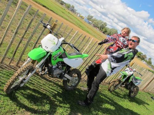 Lucky Lottie meets Kawasaki rider, Lee Pacman Bowers