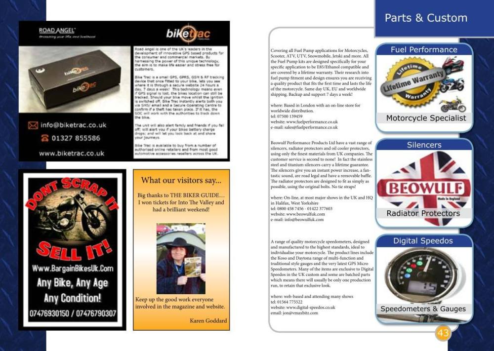 THE BIKER GUIDE - 5th edition, sample page, Custom, Parts