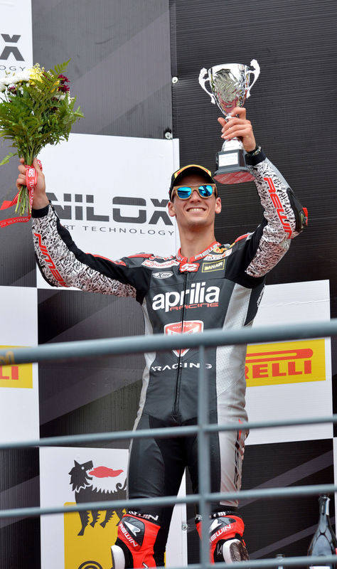 Lorenzo Savadori on the podium, Aprilia WSBK