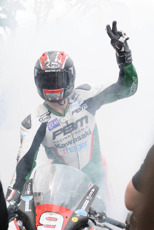 Ian Hutchinson celebrates his 2nd win at the 2015 Isle of Man TT races