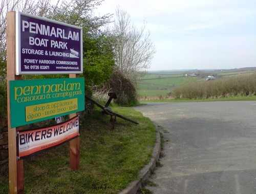 BIKERS WELCOME BANNER at Penmarlam Camping Park, Fowey Cornwall