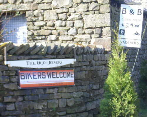BIKERS WELCOME banners @ The Old Joinery Biker Friendly B&B, Garsdale, Cumb