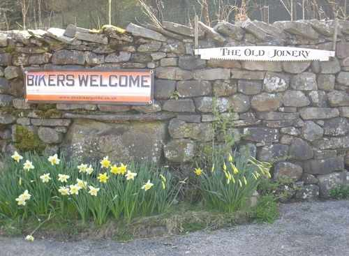 BIKERS WELCOME banners @ The Old Joinery, Motorcycle Friendly B&B, Garsdale