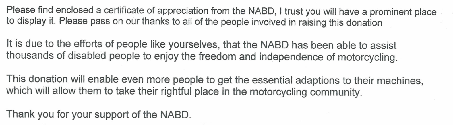 National Association for Bikers with a Disability donation from THE BIKER G