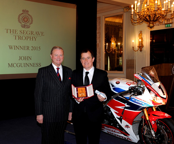awarded the Segrave Trophy to motorcycle road racer John McGuinness