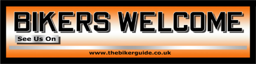 BIKERS WELCOME pvc banner - See us on... April offer