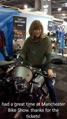 Sandra Elizabeth Wood - winner of tickets at the Manchester Bike Show