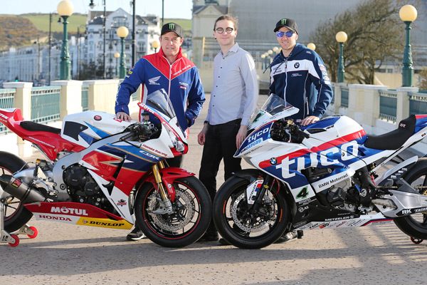 Big Ben Interactive representative Regis Fontenay with John McGuinness and