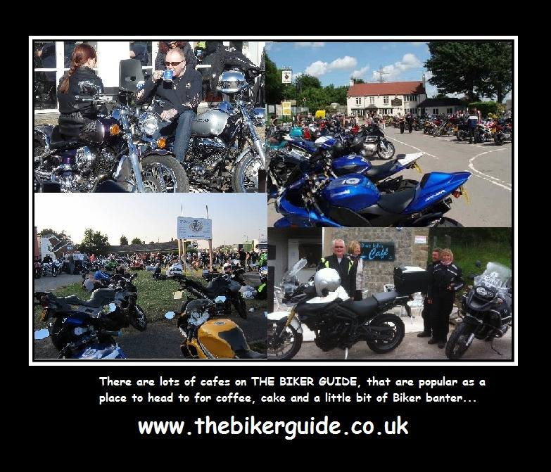 There are lot of cafes on THE BIKER GUIDE