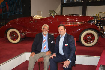 Micheal Penn with museum CEO Chris Haynes in Front of The 1936 Auburn