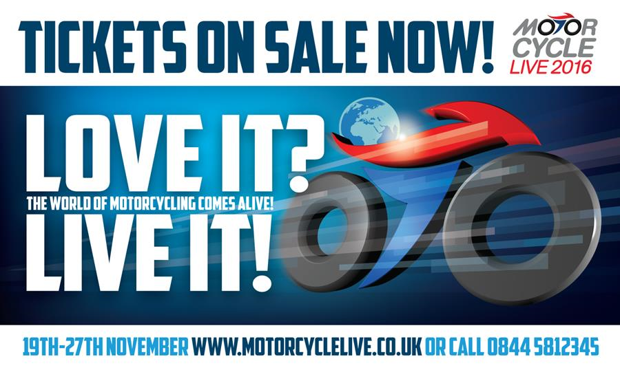 Tickets for Motorcycle Live 2016 are on sale now