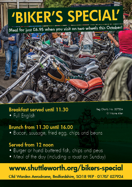 Enjoy a Bikers Special meal at Shuttleworth, Old Warden Aerodrome, Bedford