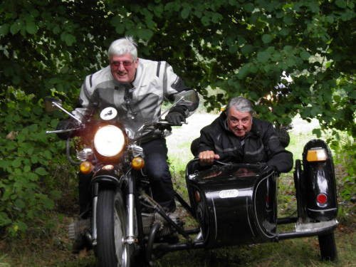 Countryside Holidays in France, Sidecar coming through the trees of two bro