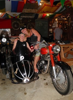 Countryside Holidays in France, guest in the bike shed having fun