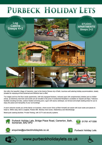THE BIKER GUIDE - 6th edition, Purbeck Holiday Lets, Somerset
