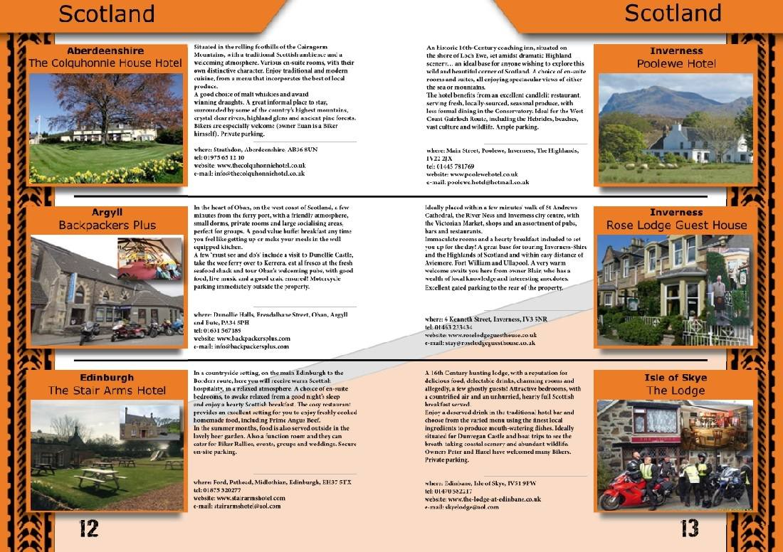THE BIKER GUIDE - 6th edition, sample page, Accommodation