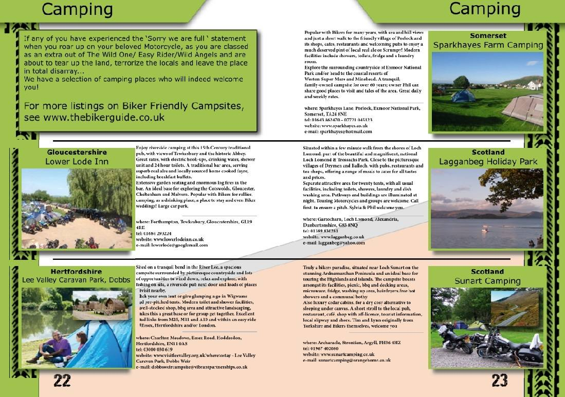 THE BIKER GUIDE - 6th edition, sample page, Campsites