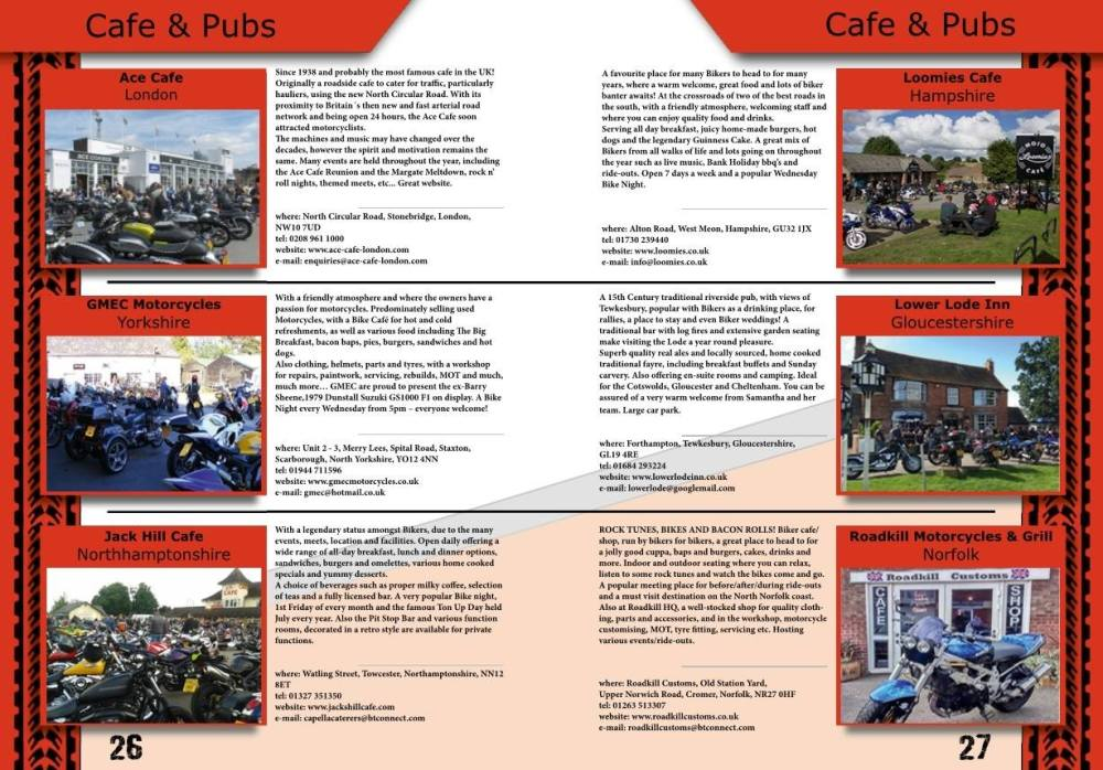 THE BIKER GUIDE - 6th edition, sample page, Cafes, Pubs