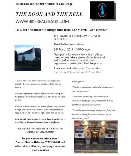 The Book and the Bell, Summer Motorcycle Riding Challenge