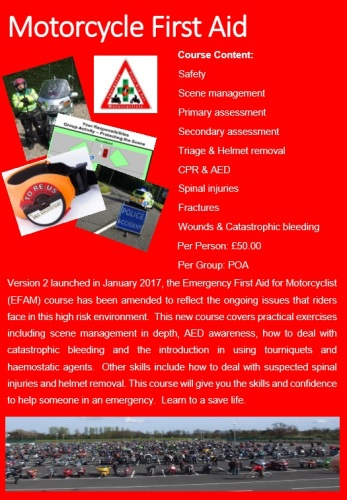 First Aid Course for Motorcyclists - 2017