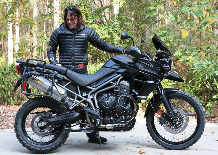 Norman Reedus and the blacked-out 2017 Tiger 800 XCA