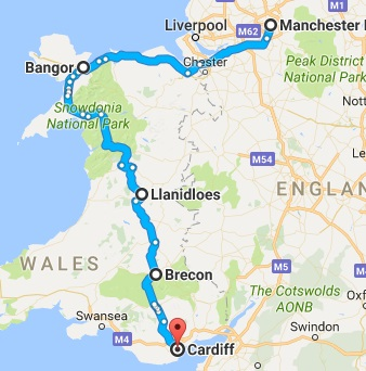 Road trip from North England, Wales, Brecon, Cardiff