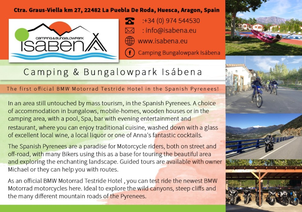 Camping Isabena, Biker friendly, BMW, Huesca, Aragon, Spain