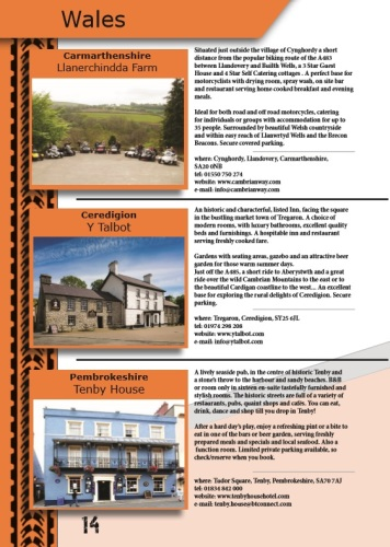 THE BIKER GUIDE - 7th edition, sample page, Accommodation