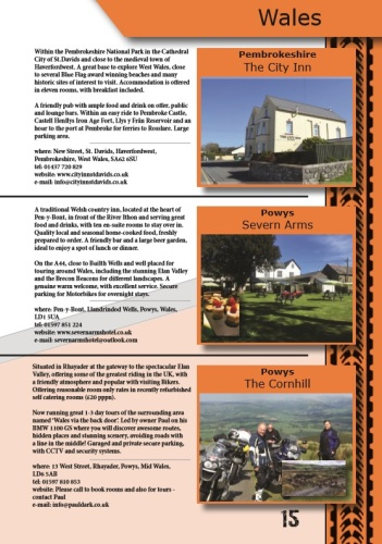 THE BIKER GUIDE - 7th edition, sample page, Accommodation Wales