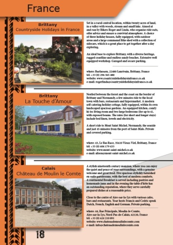 THE BIKER GUIDE - 7th edition, sample page, Accommodation, France