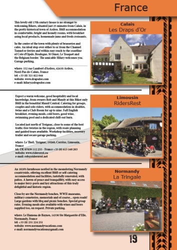 THE BIKER GUIDE - 7th edition, sample page, Accommodation, France, Europe