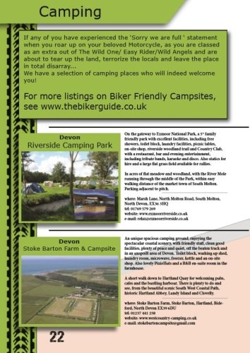 THE BIKER GUIDE, 7th edition, Camping, Sample pages