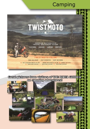 THE BIKER GUIDE - 7th edition, Camping, sample page, Equipment