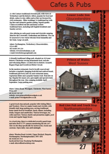 THE BIKER GUIDE, 7th edition, Cafes, Pubs, Meets, Sample pages
