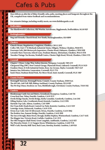 THE BIKER GUIDE, 7th edition, Cafes, Pubs, Meets, list, sample pages