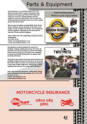 THE BIKER GUIDE - 7th edition, Parts, Fuel Performance, Equipment,