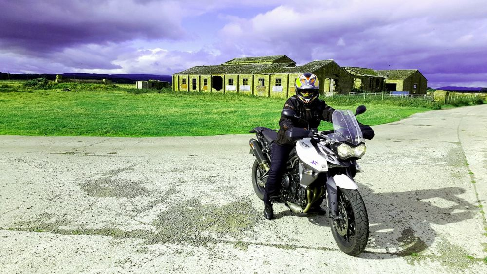 Steve Bright - My wife Trudi at an abandoned airfield near Embo in Scotland