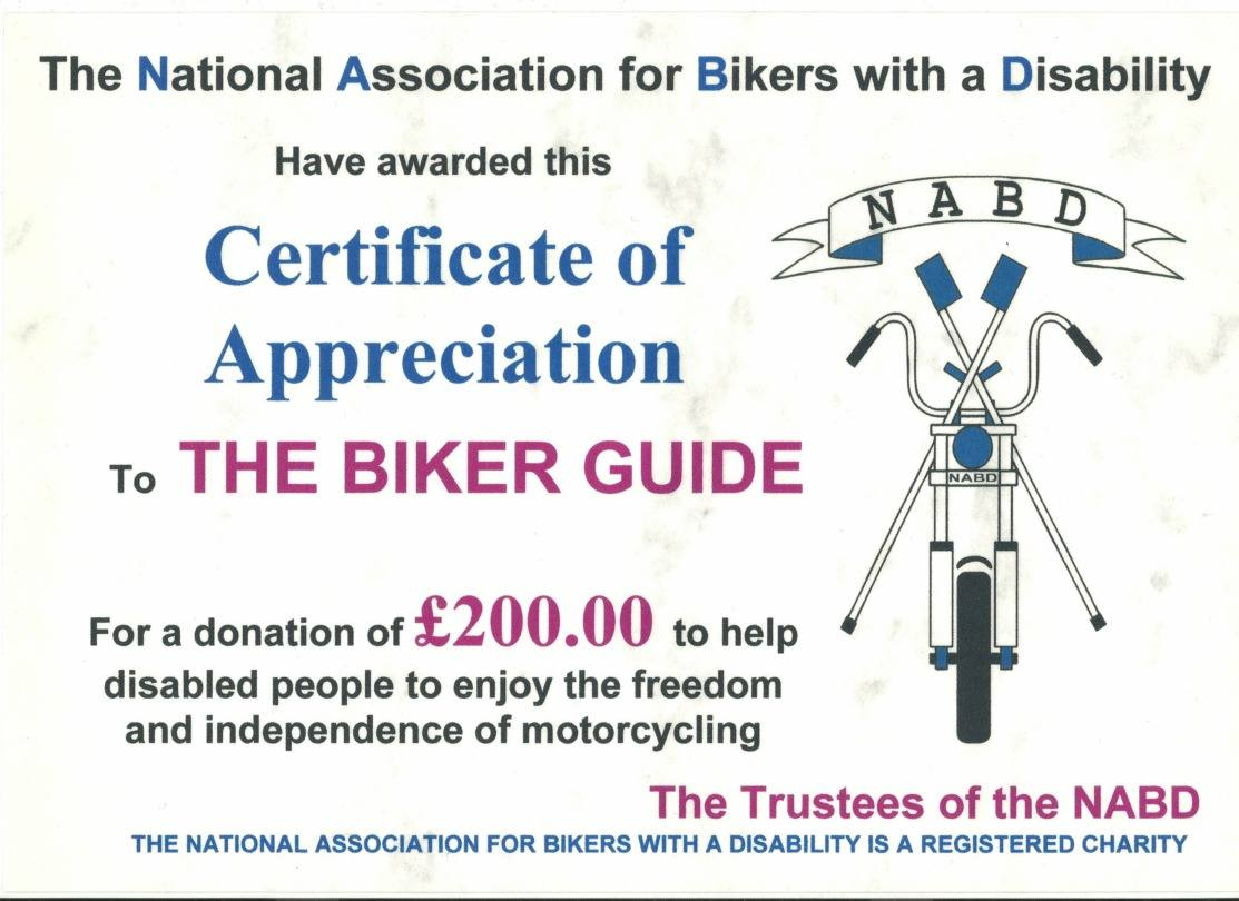 Donation to the NABD - THE BIKER GUIDE