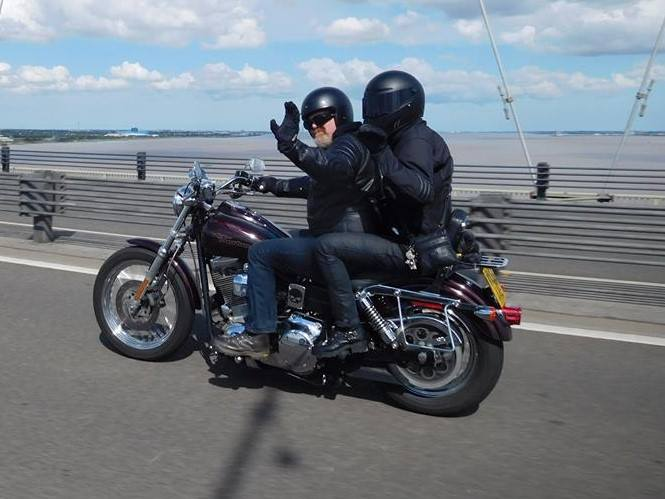 Me and my good lady going over the Humber Bridge - Adrian Spragg