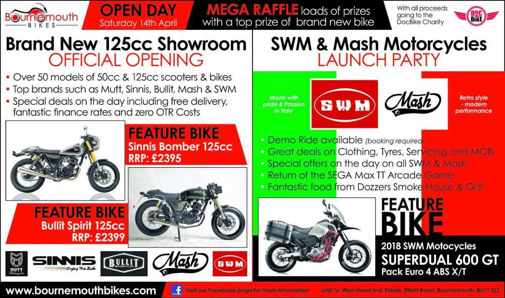 SWM Mash Launch Party, New Showroom Opening, Bournemouth Bikes, Free event