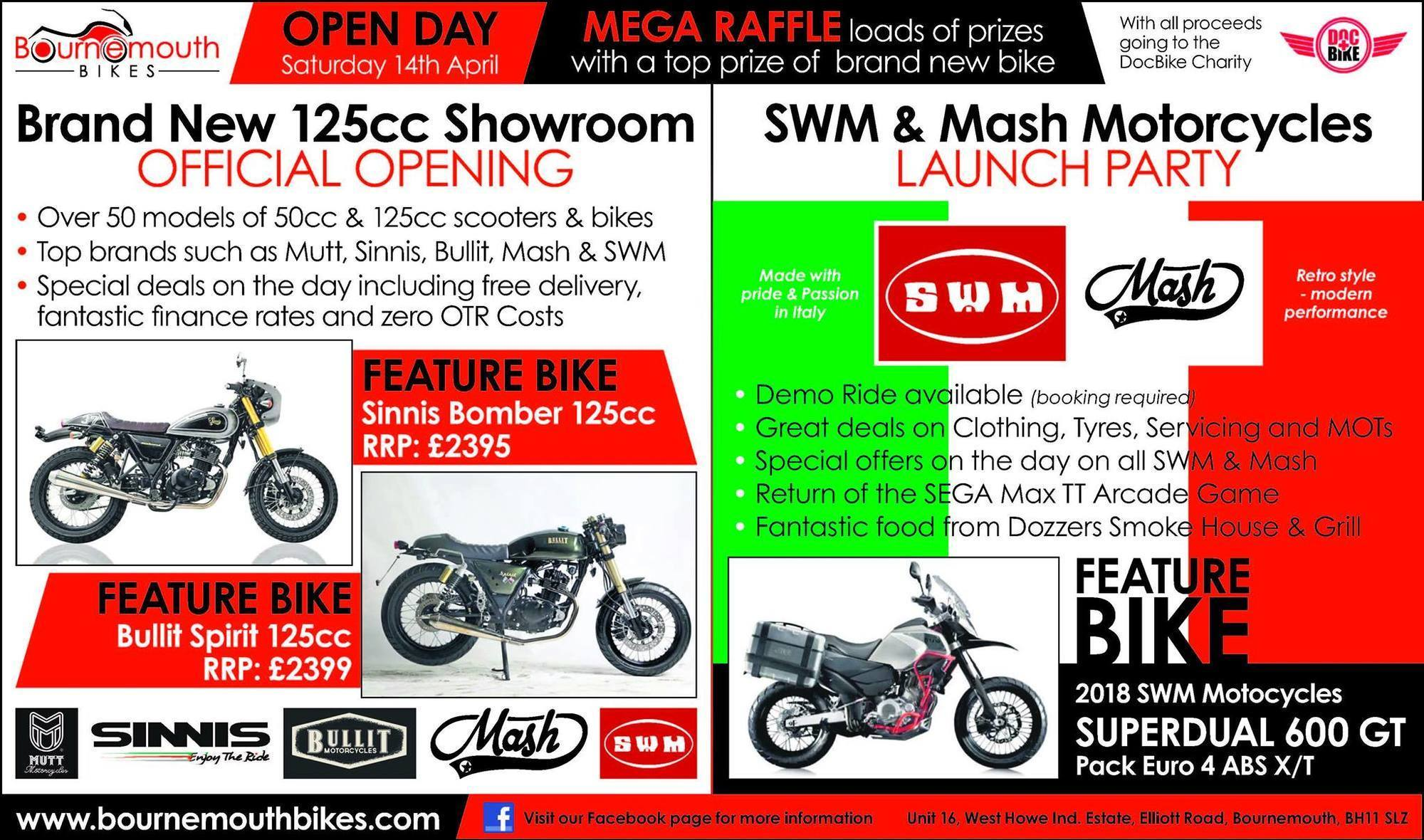 ... SWM Mash Launch Party, New Showroom Opening, Bournemouth Bikes, Free event ...